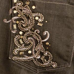White House black market noir beaded jeans